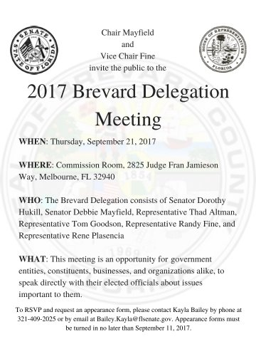 Brevard Delegation Meeting