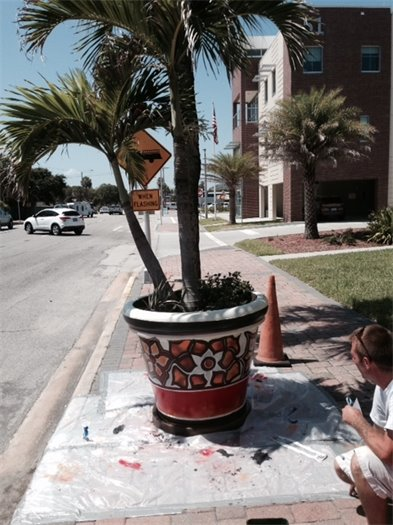 Planter painted
