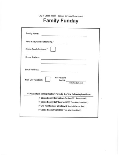 Family Fun Day Form