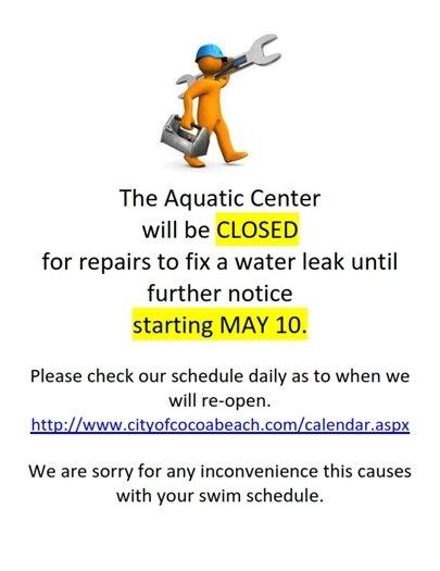 Pool closed- May 10