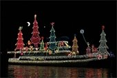 Boat in Christmas parade