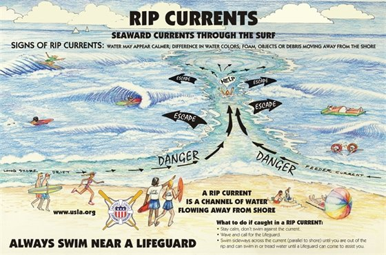 Rip Current instructions in picture