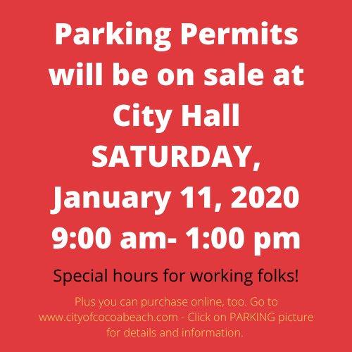 Parking permits on sale Jan 11 9am-1pm plus online