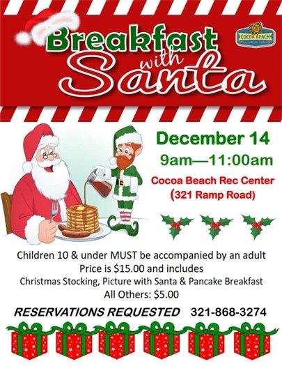 Breakfast with Santa Dec 14 9-11am Rec Center