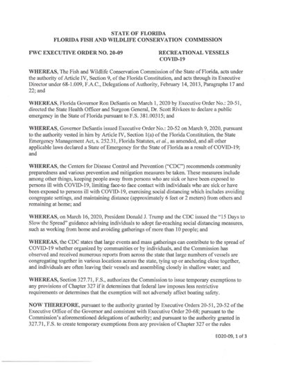 Executive order 20-09- page one