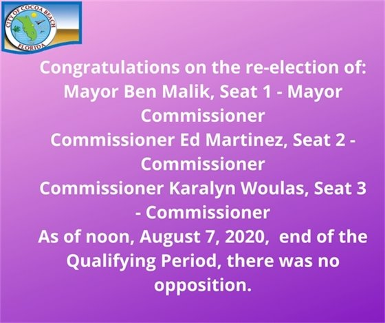 Seat 1, 2, 3 re-elected for 4 years