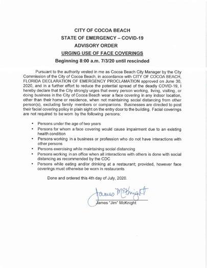 Advisory Order urging face coverings.