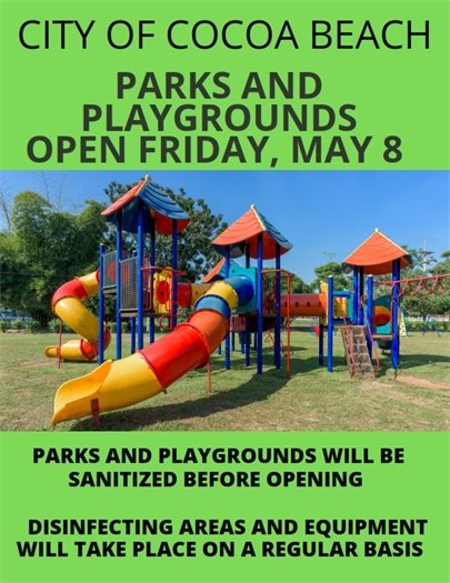 Playgrounds open May 8