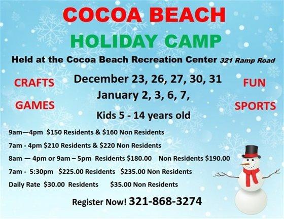 Holiday Camps Dec 23,26,27,30,31 Jan 2,3,6,7