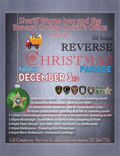 Reverse Parade- Dec 3 10:30 at 480 W. Cocoa Beach Cswy