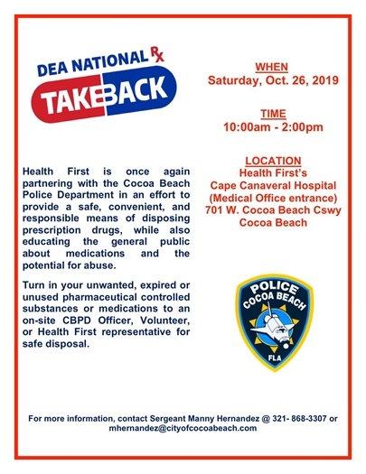 DEA national  DrugTakeback- 10-26 at hospital 10-2pm