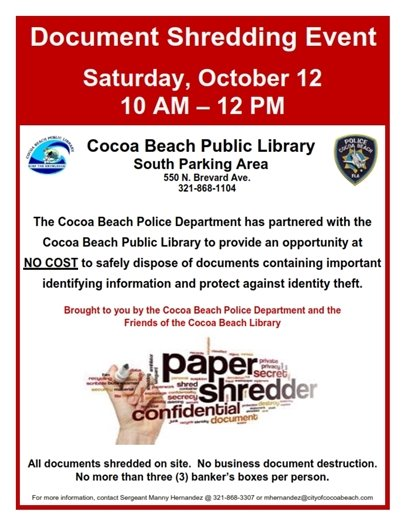 Shred-it event at CB library 10-12pm Oct 12, 2019