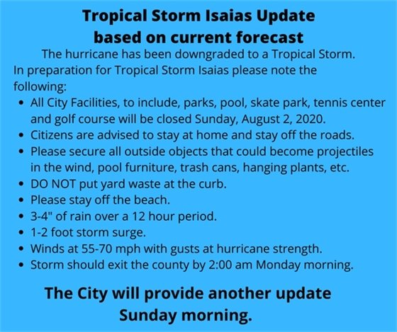Tropical Storm Update