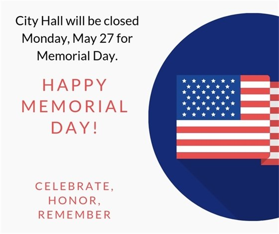 City Hall closed Memorial Day