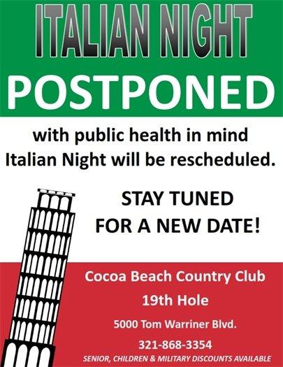 Italian night cancelled