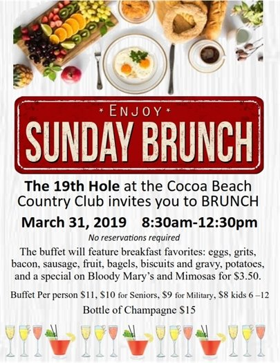 Sunday Brunch March 31 at 8:30am-12:30pm at Cocoa Beach Country Club