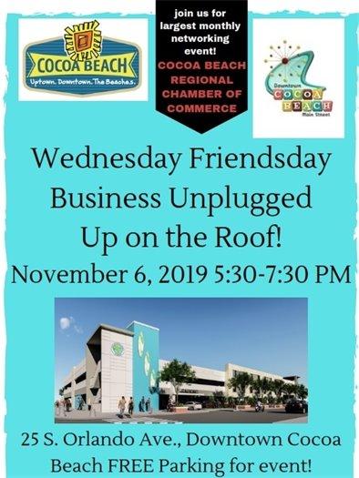 Wednesday Friendsday event, 5:30-7:30 on 3rd floor of garage