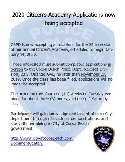 2020 Citizen's Academy Applications