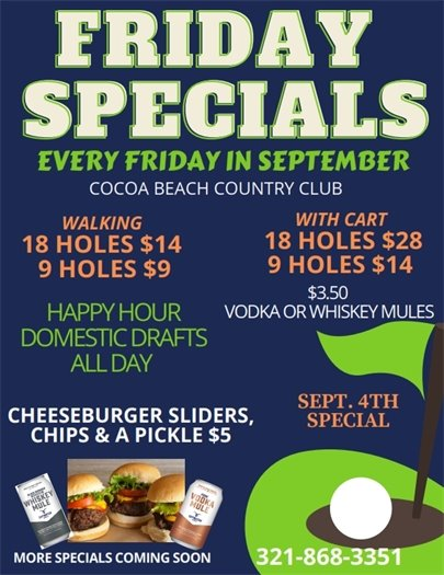 Golf specials every Friday in September
