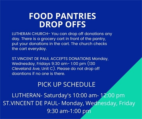Drop off and pick up schedule for food pantries