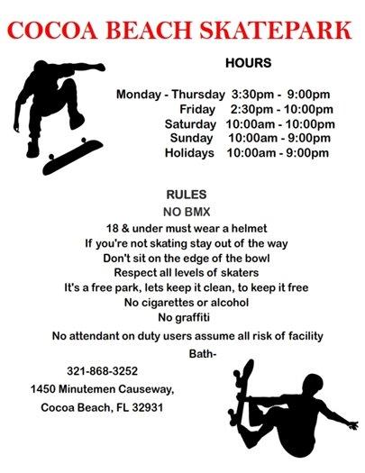 Skatepark Hours