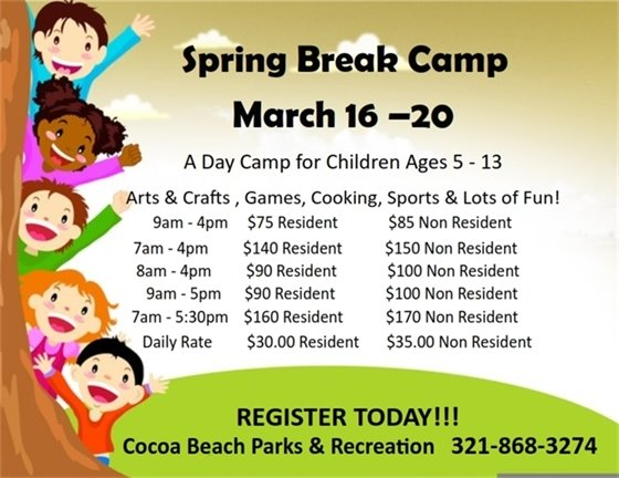Spring break camps at rec center March 16-20