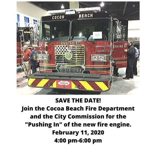 Push in New fire engine Feb 11 4-6 pm