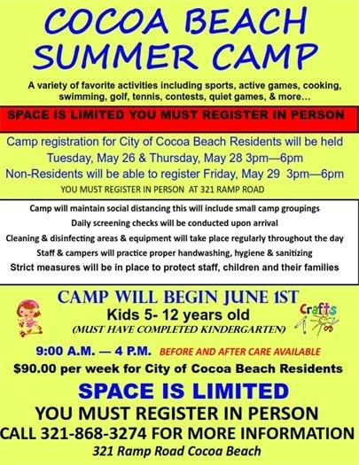 Summer camp registration May 26