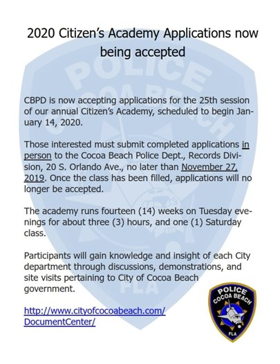 2020 Citizens academy application- go to police records dept for application and more information