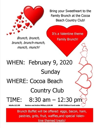 Brunch at CBCC- February 9- 8:30am-12:30pm