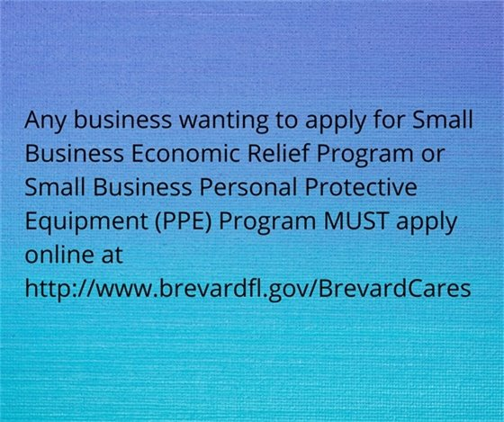 Information for Brevard County small business grants and PPE must apply online