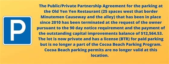 Parking permits not valid in Yen Yen parking lot