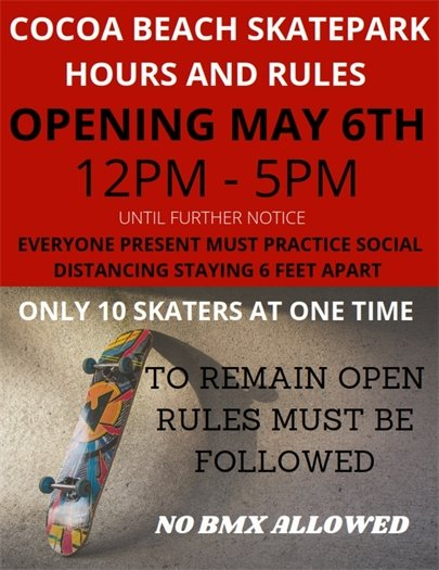 Skatepark opening Wednesday
