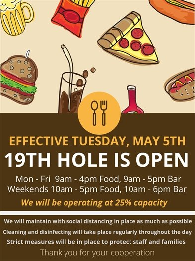 19th hole open tomorrow