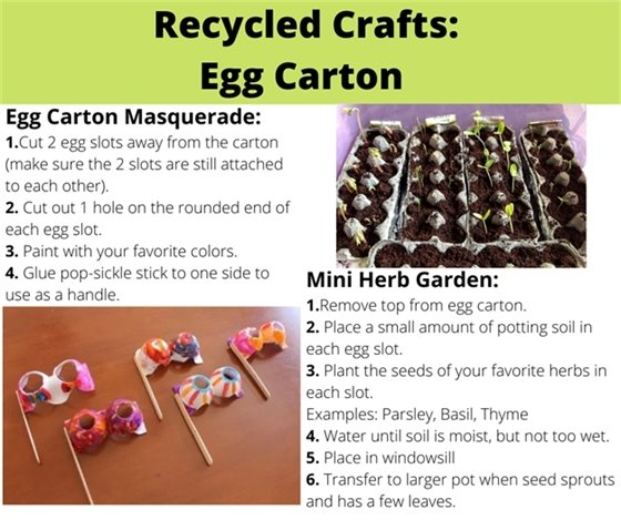 Images of recycled crafts made from egg cartons