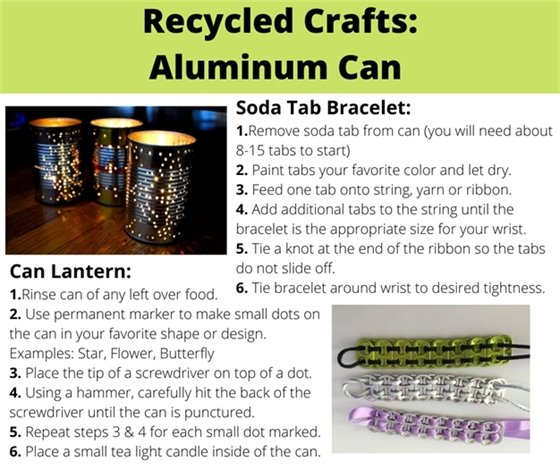 Images of recycled crafts made from aluminum cans