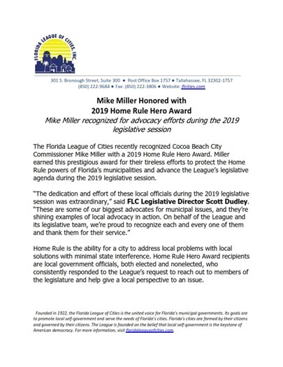 Mike Miller honored