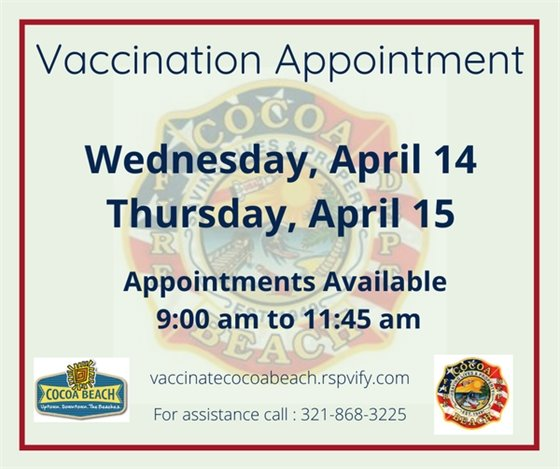 Vaccines available April 14-15