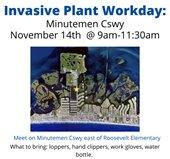 flyer for minutemen causeway invasive plant workday November 14 at 9am