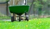 person fertilizing grass