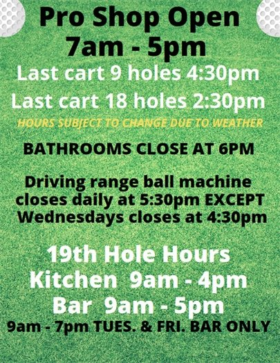 Pro shop and 19th Hole hours