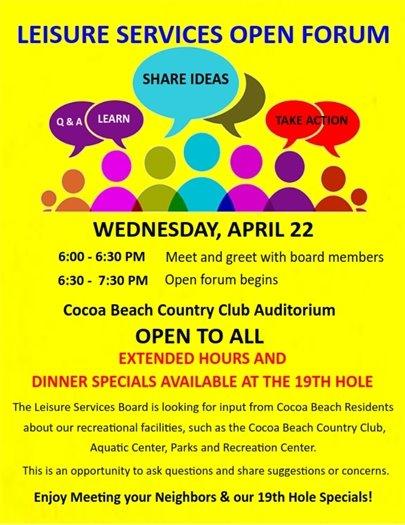 Open forum Leisure services CBCC April 22