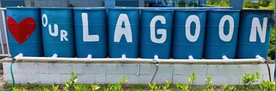 Rain barrels painted to say love our lagoon