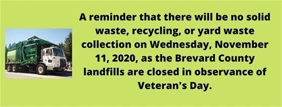 No garbage pick up Veterans Day