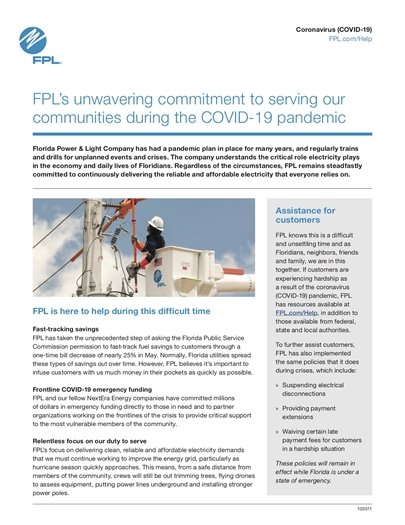 FPL Covid-19 message