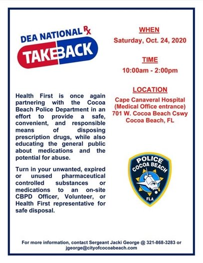 Dispose of prescription drugs safely October 24 10-2pm at Cape Canaveral Hospital