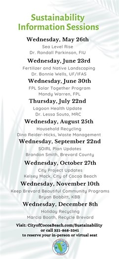 Sustainability information sessions schedule