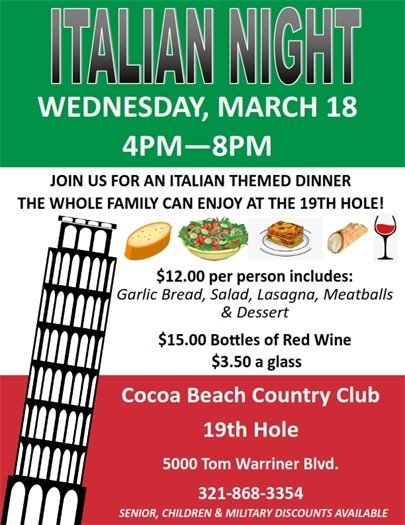Italian night at the 19th Hole March 18