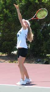 Girl doing a Tennis Serve